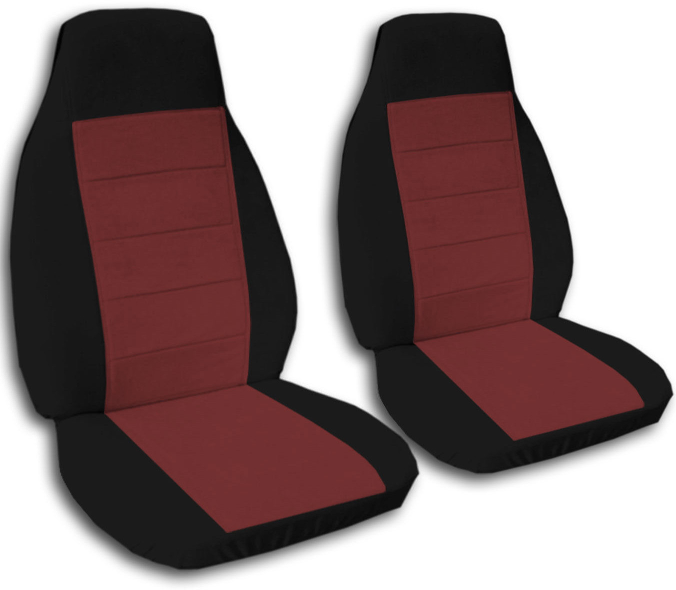 Two-Tone Car Seat Covers (Front, Semi-custom) Black & Red/Yellow ...