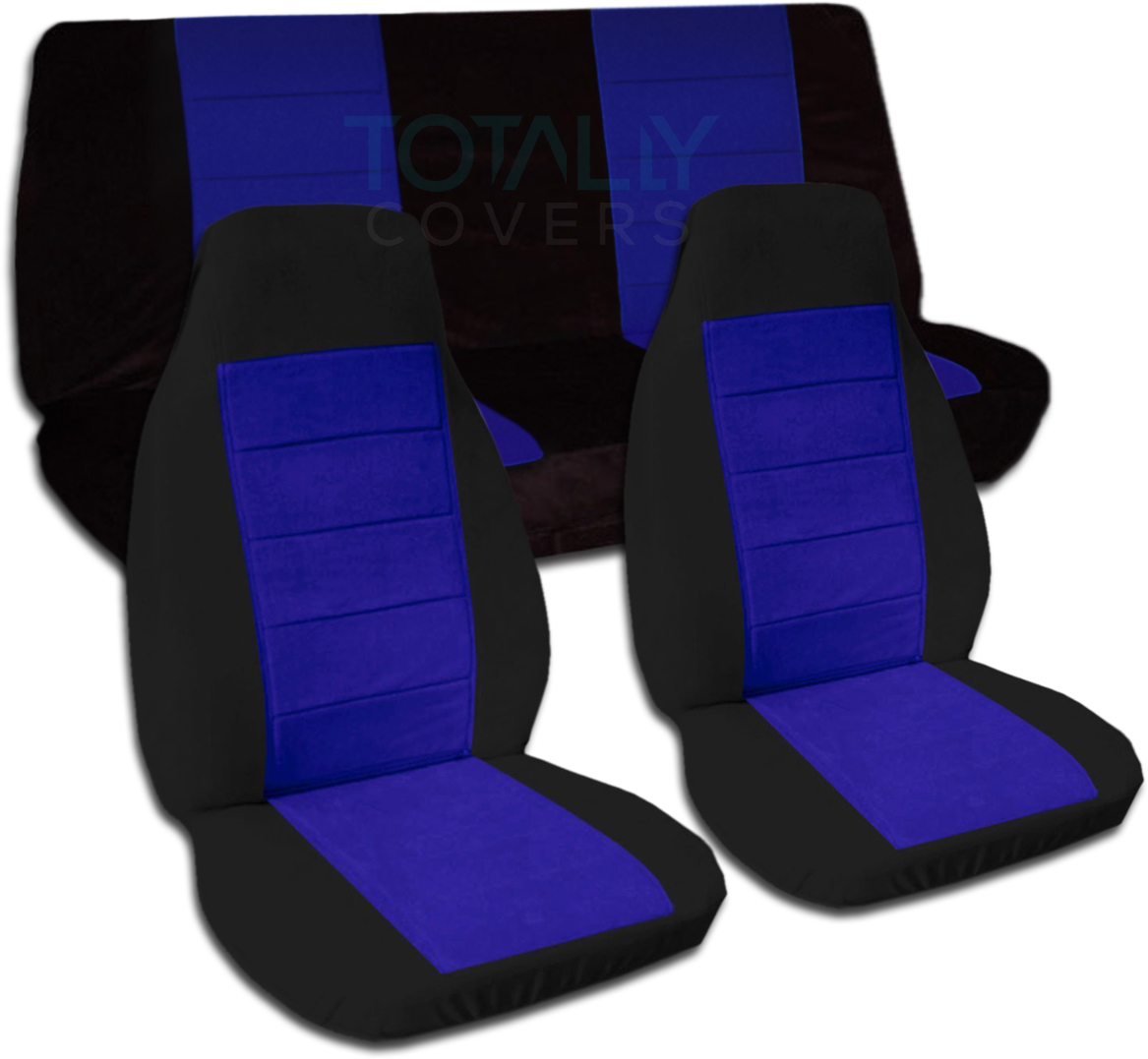 Two Tone Car Seat Covers Full Set Semi Custom Black