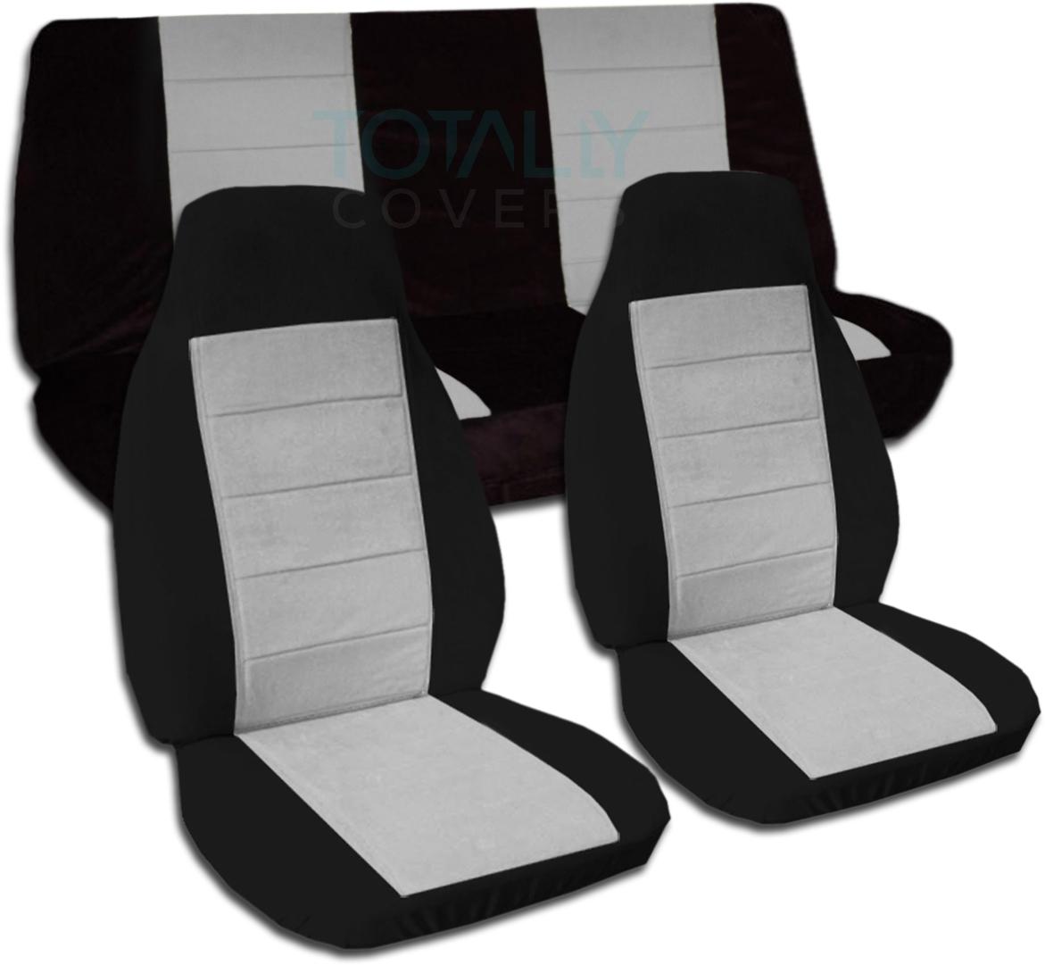 two tone car seat covers full set semi custom black red yellow orange blue. Black Bedroom Furniture Sets. Home Design Ideas