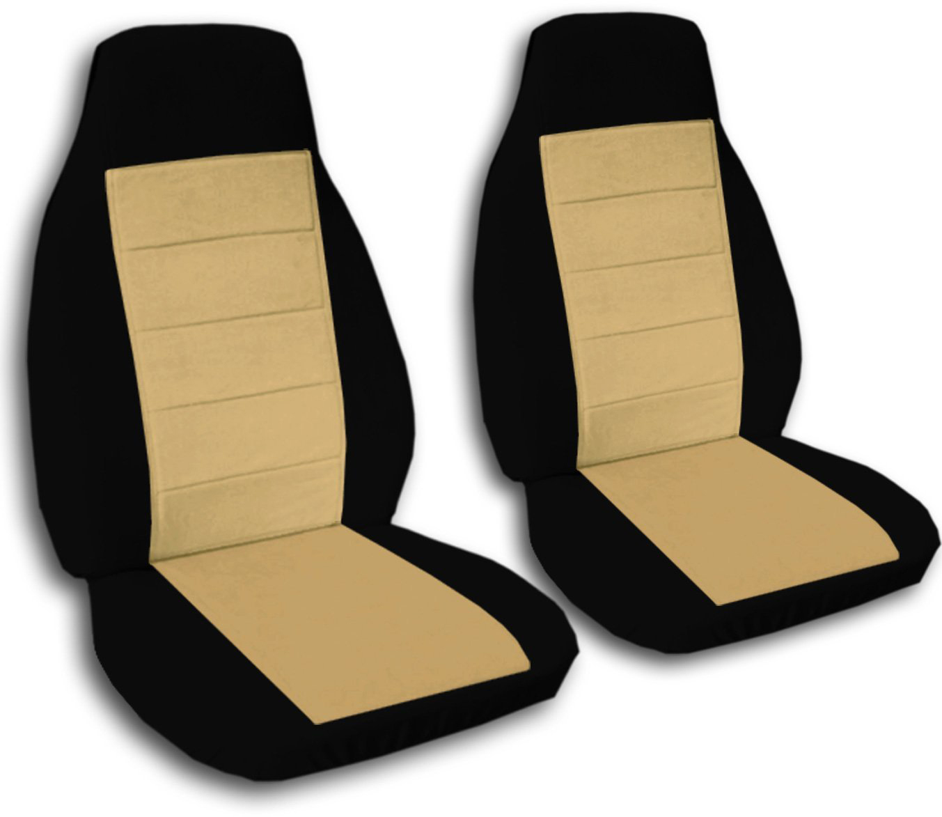 Two-Tone Car Seat Covers (Front, Semi-custom) Black & Red