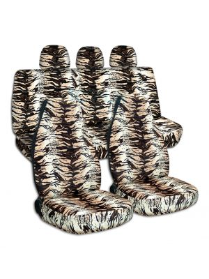 Animal Print Car Seat Covers with 3 Rear Headrest Covers - Full Set