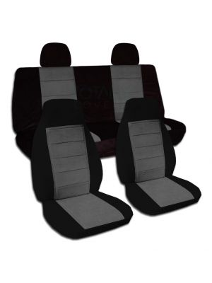 Two-Tone Car Seat Covers with 2 Rear Headrest Covers - Full Set