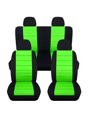 2-Tone Car Seat Covers with 4 (2 Front + 2 Rear) Headrest Covers - Full Set