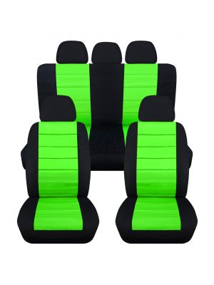 2-Tone Car Seat Covers with 5 (2 Front + 3 Rear) Headrest Covers - Full Set