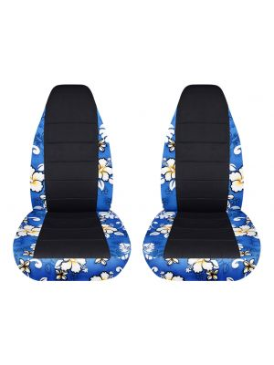 Hawaiian Print and Black Car Seat Covers - Front