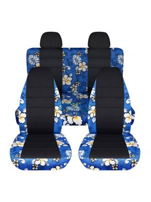 Hawaiian Print and Black Car Seat Covers with 2 Rear Headrest Covers - Full Set