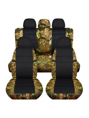 Camouflage and Black Car Seat Covers with 5 (2 Front + 3 Rear) Headrest Covers - Full Set