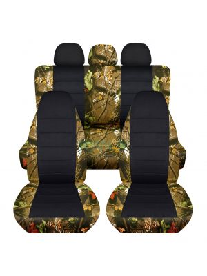 Camouflage and Black Car Seat Covers with 3 Rear Headrest Covers - Full Set