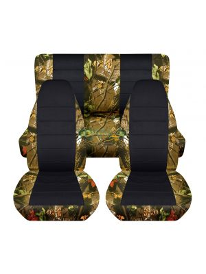 Camouflage and Black Car Seat Covers - Full Set