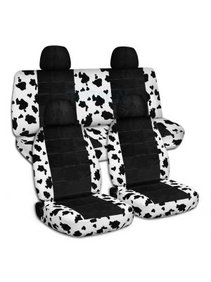 Animal Print and Black Car Seat Covers with 4 (2 Front + 2 Rear) Headrest Covers - Full Set