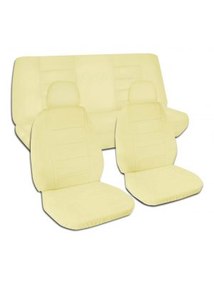 Solid Colour Car Seat Covers with 2 Front Headrest Covers - Full Set
