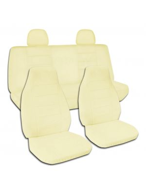 Solid Colour Car Seat Covers with 2 Rear Headrest Covers - Full Set