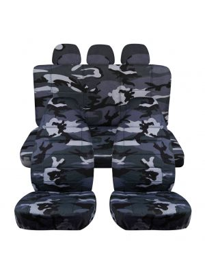 Camouflage Car Seat Covers with 3 Rear Headrest Covers - Full Set