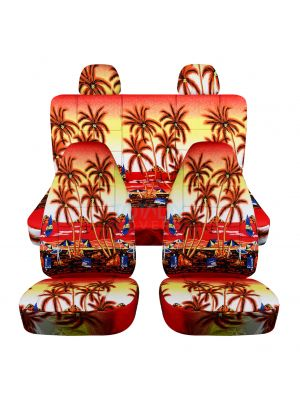 Hawaiian Print Car Seat Covers with 2 Rear Headrest Covers - Full Set
