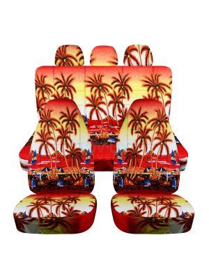 Hawaiian Print Car Seat Covers with 3 Rear Headrest Covers - Full Set