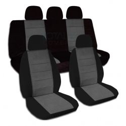 Two-Tone Car Seat Covers with 5 (2 Front + 3 Rear) Headrest Covers - Full Set