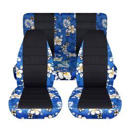 Hawaiian Car Seat Covers >> Hawaiian Print And Black Car Seat Covers Full Set