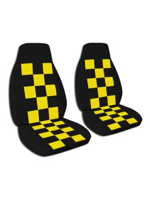 Outstanding Black And Yellow Checkered Seat Covers For Cars Trucks Lamtechconsult Wood Chair Design Ideas Lamtechconsultcom