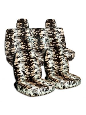 Animal Print Car Seat Covers with 4 (2 Front + 2 Rear) Headrest Covers - Full Set