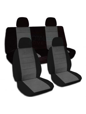 Two-Tone Car Seat Covers with 4 (2 Front + 2 Rear) Headrest Covers - Full Set