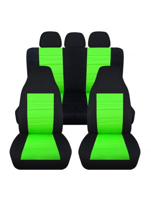 2-Tone Car Seat Covers with 3 Rear Headrest Covers - Full Set