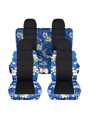 Hawaiian Print and Black Car Seat Covers with 4 (2 Front + 2 Rear) Headrest Covers - Full Set