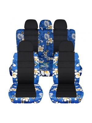 Hawaiian Print and Black Car Seat Covers with 5 (2 Front + 3 Rear) Headrest Covers - Full Set