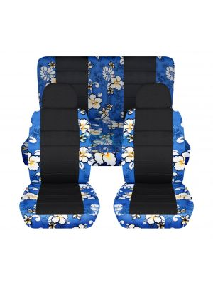 Hawaiian Print and Black Car Seat Covers with 2 Front Headrest Covers - Full Set