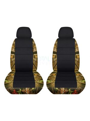 Camouflage and Black Car Seat Covers with 2 Separate Headrest Covers - Front