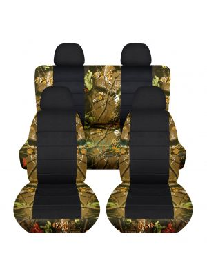 Camouflage and Black Car Seat Covers with 4 (2 Front + 2 Rear) Headrest Covers - Full Set