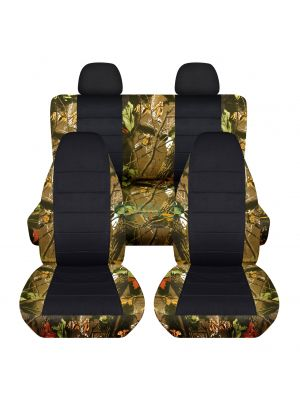 Camouflage and Black Car Seat Covers with 2 Rear Headrest Covers - Full Set