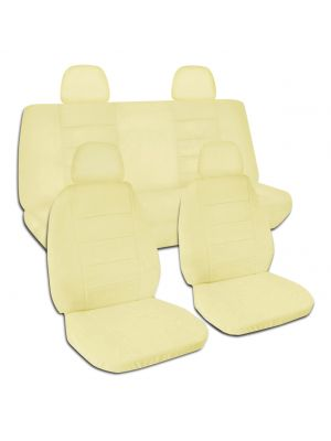 Solid Color Car Seat Covers with 4 (2 Front + 2 Rear) Headrest Covers - Full Set