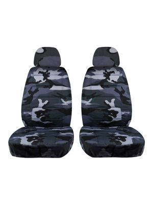 Camouflage Car Seat Covers with 2 Separate Headrest Covers - Front