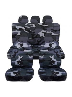 Camouflage Car Seat Covers with 5 (2 Front + 3 Rear) Headrest Covers - Full Set