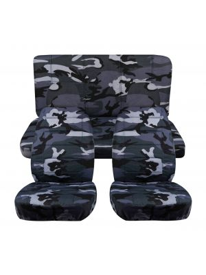 Camouflage Car Seat Covers with 2 Front Headrest Covers - Full Set