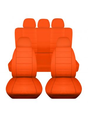 Solid Car Seat Covers with 5 (2 Front + 3 Rear) Headrest Covers - Full Set