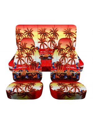 Hawaiian Print Car Seat Covers with 2 Front Headrest Covers - Full Set