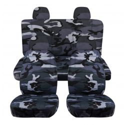 Camouflage Car Seat Covers with 4 (2 Front + 2 Rear) Headrest Covers - Full Set